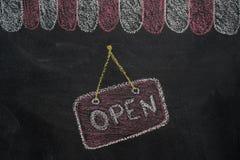 Telhado do café da loja com sinal aberto no quadro ilustração stock