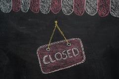 Telhado do café da loja com sinal fechado no quadro ilustração do vetor