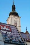 Telhado do mosaico da igreja de St Mark em Zagreb, Croácia Foto de Stock Royalty Free