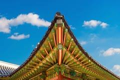 Telhado do palácio de Gyeongbokgung em Coreia Imagens de Stock