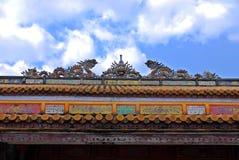 Telhado do palácio real na matiz, Vietnam Fotos de Stock