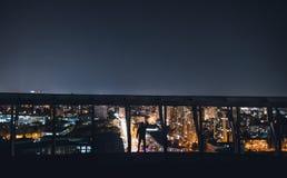telhado Kiev da cidade da noite do céu fotografia de stock