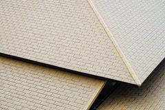 Telhado moderno com teste padrão da parede de tijolo Fotografia de Stock Royalty Free