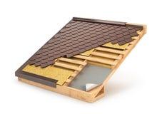 Telhado, telha, projeto & a instalação do sistema da construção, ilustração royalty free