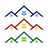 Telhado triplo Real Estate Logo Symbol Design Template Foto de Stock