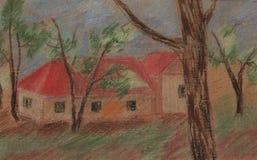 Telhado vermelho ilustração royalty free