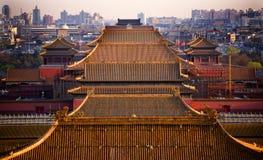 Telhados amarelos cidade proibida Beijing China imagem de stock