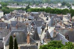 Telhados da cidade de Chinon fotografia de stock