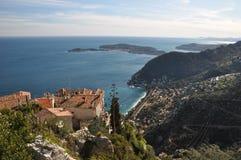 Telhados da vila de Eze, franceses fotografia de stock royalty free
