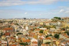 Telhados das casas, vista do Sao Jorge de Castello Lisboa, Portugal fotografia de stock