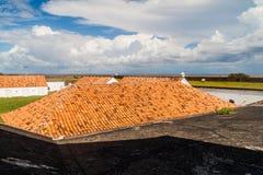 Telhados das construções da fortaleza do St Joseph Sao Jose em Macapa, Braz fotografia de stock