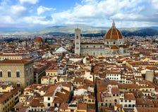 Telhados de Florença e de catedral do Palazzo Vecchio Fotos de Stock Royalty Free