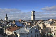 Telhados de Lviv foto de stock royalty free