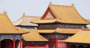 Telhados de telha da cidade proibida (Beijing, China) imagem de stock