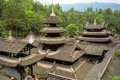 Telhados do palácio na cidade antiga imperial de Enshi Tusi em Hubei China Imagens de Stock