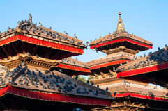 Telhados do templo do quadrado de Kathmandu Durbar Imagens de Stock