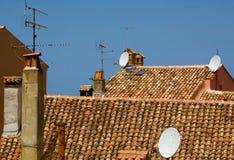 Telhados e antenas Foto de Stock Royalty Free
