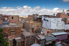 Telhados e casas de C4marraquexe, Marrocos Foto de Stock