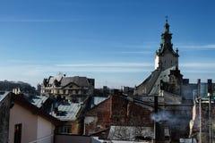 Telhados velhos da cidade Fotografia de Stock