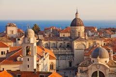 Telhados velhos da cidade de Dubrovnik Foto de Stock Royalty Free
