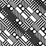 Telhar geométrico decorativo das formas Teste padrão irregular monocromático Fundo preto e branco abstrato Artisti Fotos de Stock