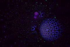 Telhas abstratas do fractal nos azuis e nos roxos que curvam-se para fora nos grupos e nas camadas foto de stock