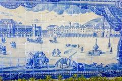 Telhas cerâmicas históricas de Lisboa Azulejo foto de stock royalty free