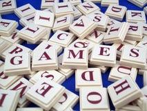 Telhas da letra dos jogos Fotografia de Stock Royalty Free