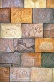 Telhas da parede da terracota no tom da terra Imagens de Stock Royalty Free