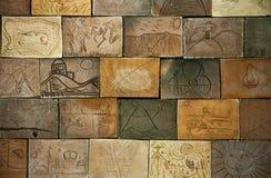 Telhas da parede da terracota no tom da terra Foto de Stock