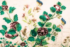 Telhas das texturas bonitas do close up e ouro abstrato e fundo colorido e arte da parede de vidro ilustração stock