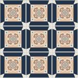 Telhas de assoalho - teste padrão sem emenda do vintage com telhas do cimento Ilustração do vetor Foto de Stock Royalty Free