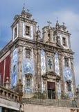 Telhas de Azulezhu na fachada da igreja de St Ildefonso Fotografia de Stock Royalty Free