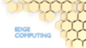 Telhas de computação do hexágono do conceito da borda no branco Foto de Stock