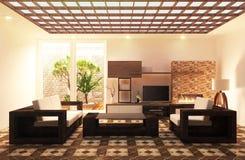 Telhas de madeira do assoalho da sala de tevê no projeto da parede, com vida de madeira do armário e da decoração, rendição 3D ilustração royalty free