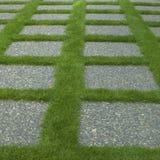 Telhas Manicured da grama e da pedra fotos de stock royalty free