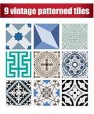 9 telhas modeladas coleção do vintage Fotografia de Stock