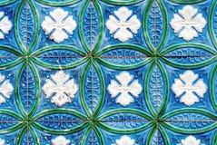 Telhas portuguesas azuis e verdes Imagem de Stock Royalty Free