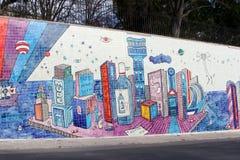 Telhas portuguesas da parede surreal da arte da rua, Lisboa Imagem de Stock Royalty Free