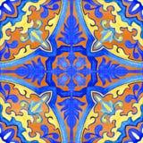 Telhas portuguesas do azulejo Teste padrão sem emenda da aquarela Fotografia de Stock Royalty Free