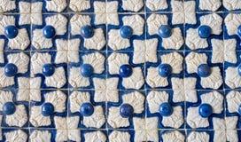 Telhas portuguesas típicas do azulejo Ornamento geométrico fotografia de stock royalty free