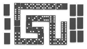 Telhas pretas do dominó ajustadas Imagens de Stock