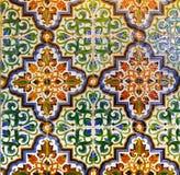 Telhas vitrificadas do vintage teste padrão geométrico português, Azulejos feito a mão, arte da rua de Portugal, fundo abstrato foto de stock royalty free
