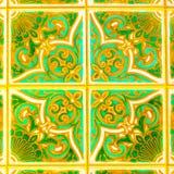 Telhas vitrificadas retros portuguesas com teste padrão geométrico, Azulejos feito a mão, arte da rua de Portugal, fundo abstrato Fotografia de Stock