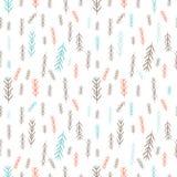 Telhe o fundo do Natal com os galhos azuis e cor-de-rosa do pinheiro Feliz Natal! ilustração royalty free