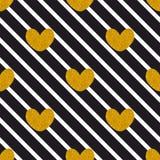 Telhe o teste padrão do vetor com listras pretas e corações dourados no fundo branco Fotografia de Stock Royalty Free