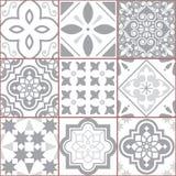 Telhe o teste padrão sem emenda de Azlejos do vetor, mosaico espanhol ou português na turquesa e o cinza, sumário e designs flora Imagem de Stock Royalty Free