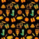 Telhe a textura com os produtos feitos a mão de lãs sobre a obscuridade Imagens de Stock Royalty Free
