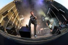 Telkens als ik metalcore muziekband sterf presteer in overleg bij de muziekfestival van het Download zware metaal royalty-vrije stock foto's
