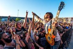 Telkens als ik metalcore muziekband sterf presteer in overleg bij de muziekfestival van het Download zware metaal royalty-vrije stock foto